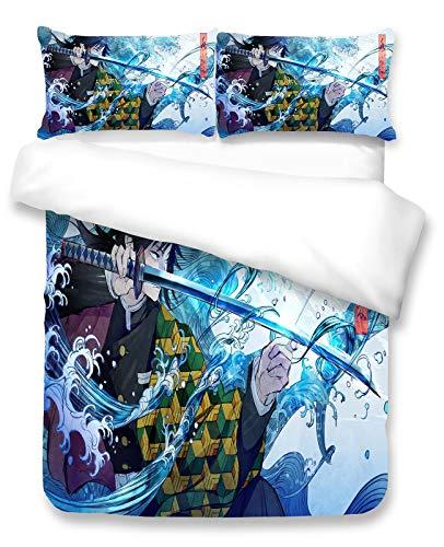 Juegos de edredón de ropa de cama Demon Slayer Anime Duvet Cover Set-3D Niños Dibujos Animados Edredón Cubierta Conjunto Para Adolescentes Microfibra Edredón Cubierta 3 PCS Conjunto De Ropa De Cama Ma