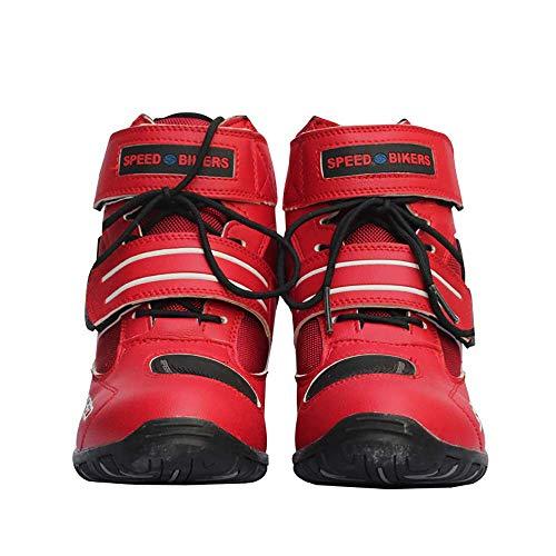 Botas de motocicleta motorista de la motocicleta que compite con los zapatos estilista corto tobillo de arranque zapatos de la pista de la motocicleta de rotación tanques de agua para los ,Rojo,45