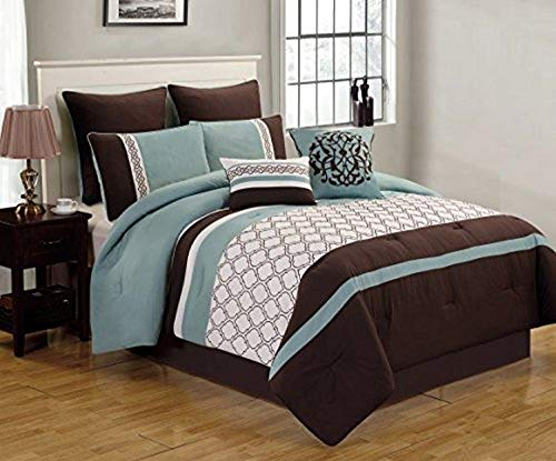 Riverbrook Home Bedding Comforter Set, King, Set of 8, Tolbert - Blue/Brown/Ivory, 8 Piece
