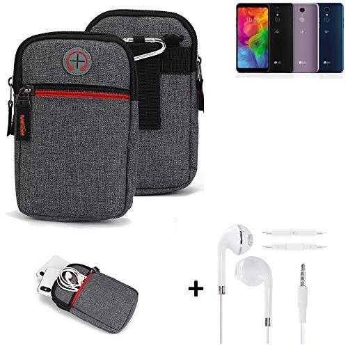K-S-Trade® Gürtel-Tasche + Kopfhörer Für -LG Electronics Q7 Alfa- Handy-Tasche Schutz-hülle Grau Zusatzfächer 1x
