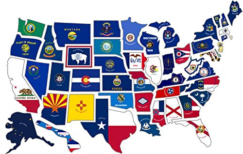 RV State Sticker Travel Map || 14' x 22'|| 50 - USA States Flag Visited Decal || USA Road Trip Window Stickers || Motorhome Camper Trailer 5th Wheel Accessories
