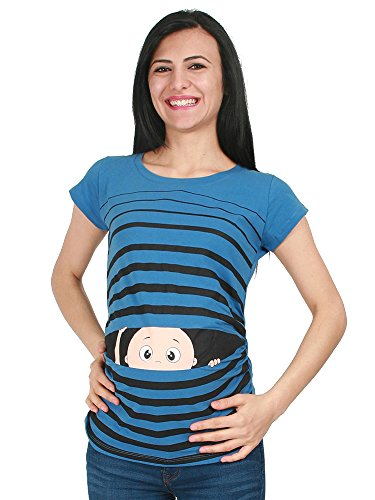 Witzige süße Umstandsmode T-Shirt mit Motiv Schwangerschaft Geschenk - Kurzarm (L, Blau)