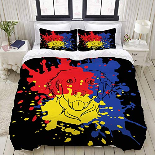 Nonun Duvet Cover Set, Golden Retriever 3 Separate Colors Abstract, Colorful Decorative 3 Piece Bedding Set with 2 Pillow Shams