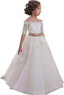 Áo quần dành cho bé gái – Lace Scoop Flower Girls Pageant Dresses Girls First Communion Dress Princess Wedding