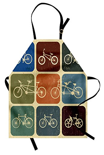 Lunarable Vintage Apron, Retro Image Collage of Bicycle Bikes in a Row Abstract Pattern Colored Art, Unisex Kitchen Bib with Adjustable Neck for Cooking Gardening, Adult Size, Soft Beige