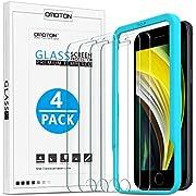 OMOTON Verre Trempé pour iPhone Se 2020 Film Protection Ecran iPhone 8/7/6/6S Se 2e Génération, sans Bulles, Anti Rayures, Facile Installation, Lot de 4