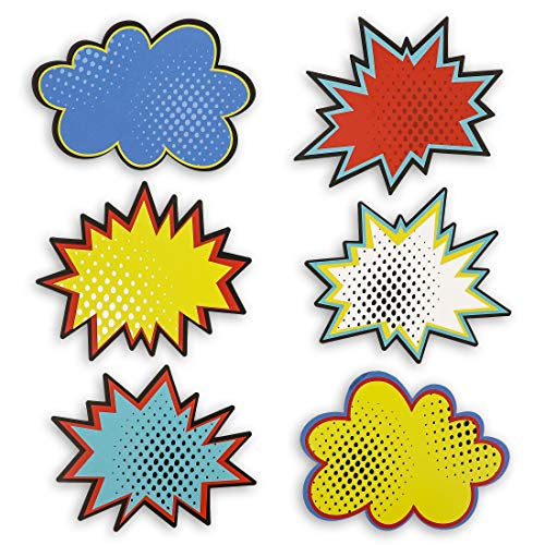 Juvale Bulletin Board Cutout Name Tags, Comic Book Hero Theme (5 x 7 in, 60 Pack)