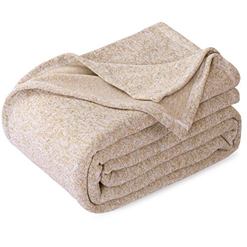 KAWAHOME Summer Knit Blanket Lightweight Soft Breathable Cozy Fuzzy Heather Jersey Comfortable Thin Blanket for Couch Sofa Bed Queen Size 90X 90 Inches Camel and White
