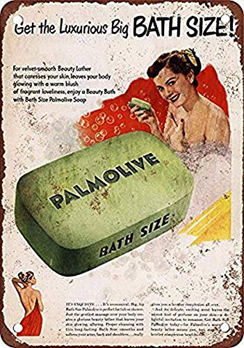 Letrero de metal de 25 x 35 cm de aluminio de 1950 Palmolive jabón de baño hierro arte pintura estaño vintage decoración de pared para Cafe Bar Pub Home Beer Decor Crafts Retro Vintage Sign