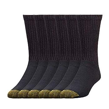 Gold Toe Men s 656s Cotton Crew Athletic Socks Multipairs Black  6-Pairs  Large