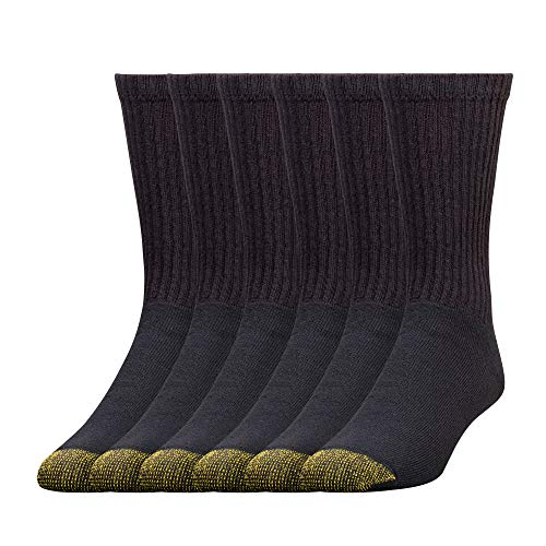 Gold Toe Men's 656S Cotton Crew Athletic Sock Multi-Pack, Black -Pack of 6, Shoe Size: 6-12.5