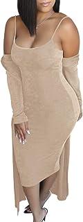 Ohvera Women's 2 Piece Outfits Spaghetti Strap Bodycon Midi Dress Long Cardigan