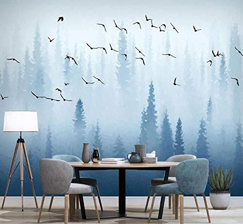 3D vliesbehang foto vlies premium fotobehang handbeschilderde vliegende vogels 3D bos wallpaper murals voor eetkamer bank background 250*175 250 x 175 cm.