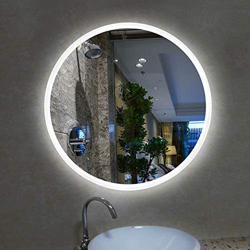 Espejo de baño Redondo LED Iluminado con luz tocador de Pared/con Interruptor táctil y tapete antiniebla