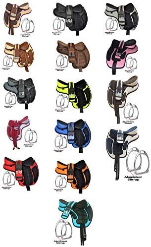 Y&Z Enterprises Freemax - Sillín de caballo (sintético, sin árboles) para adulto, con estribos y tamaño de circunferencia a juego (14-18)