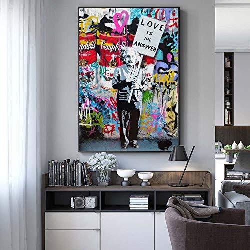 NIMCG Quadro su Tela Color Graffiti Stampa Astratta Moderna Tela di Arte di Strada Einstein appesa al Muro Poster e Riproduzione della Stampa (Senza Cornice) A3 20x30 cm