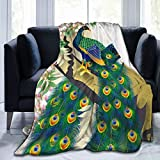 Peacock Couple in Flower Tree Soft Throw Blanket All Season Microplush Warm Blankets Lightweight Tufted Fuzzy Flannel Fleece Throws Blanket for Bed Sofa Couch