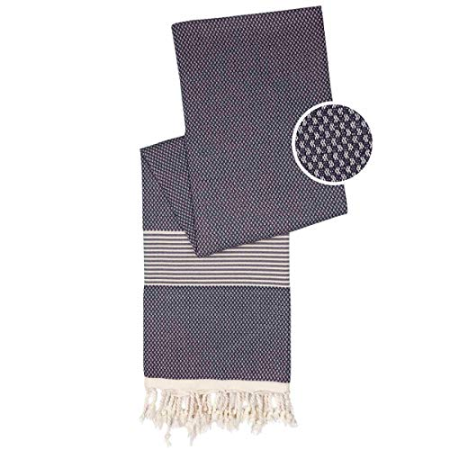Happy Towels Toallas Hammam | gris y blanco | 210 cm x 95 cm | 60% bambú y 40% algodón orgánico | comercio justo