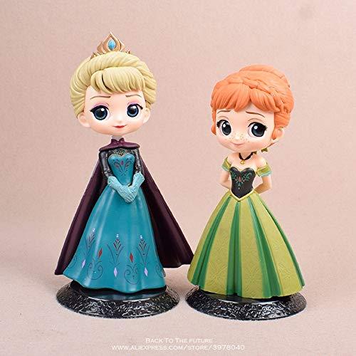 zcm Anime Figura Juguete 2 Piezas Anna Elsa Princesa 14 Cm Mini Muñeca Figura De Acción Anime Mini Colección Figura Juguete Modelo para Regalo De Niños