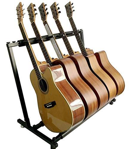 最新型 ギタースタンド(5本収納) 折りたたみ ユニバーサル 転倒防止用ゴム付属 楽器本体に傷が付くのを防ぎます 安定耐久 収納しやすい ブラケット (アコギ/ウクレレ/クラシック/エレキ/ベース/管楽器 対応スタンド) (5本収納)