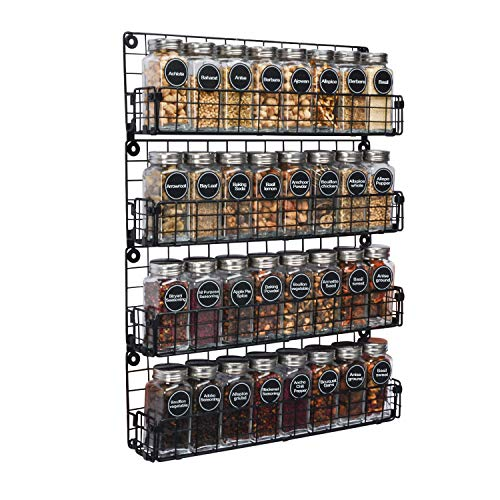 Spice Rack Organizer Wall Mounted 4-Tier Stackable Black Iron Wire Hanging Spice Shelf Storage Racks,Great for Kitchen and Pantry Storing Spices, Household Items,Bathroom and More(Patent Pending)