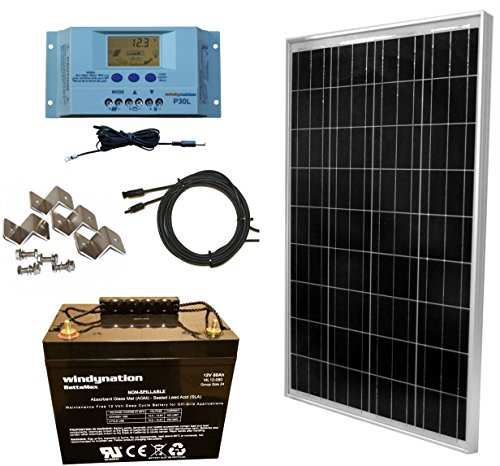 WindyNation 100 Watt Solar Panel Complete Off-Grid RV Boat Kit with P30L LCD PWM Charge Controller, Solar Cable, Wiring Connectors, Mounting Brackets + 80Ah AGM Deep Cycle Battery