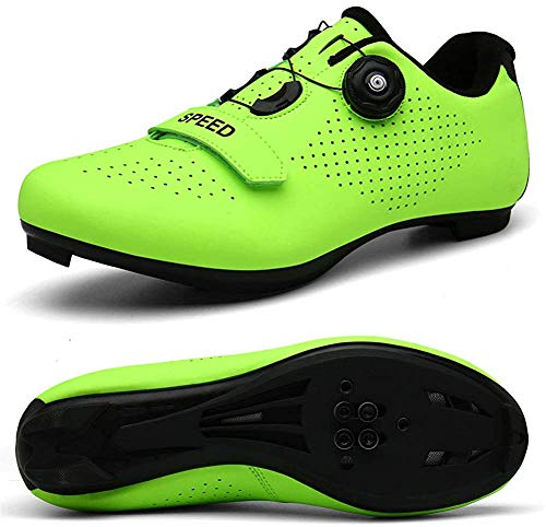 STEELEMENT.Cycling Shoes Spin Shoestring with Compatible Cleat Peloton Shoe with SPD and Delta for Men Women Lock Pedal Bike Shoes (Green-44 UK 9)