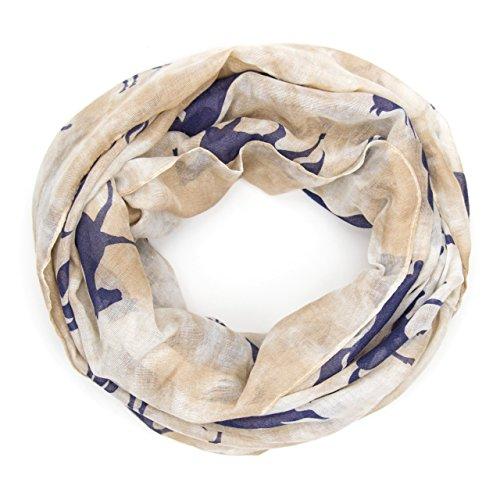 MANUMAR Loop-Schal für Damen | Hals-Tuch in blau braun mit Pferde Motiv als perfektes Herbst Winter Accessoire | Schlauchschal | Damen-Schal | Rundschal | Geschenkidee für Frauen und Mädchen