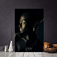 KFEKDT Black Gold African Nude Woman Indian Portrait Canvas Painting Posters and Print Scandinavian Wall Art Picture for Living Room A 35x70CM