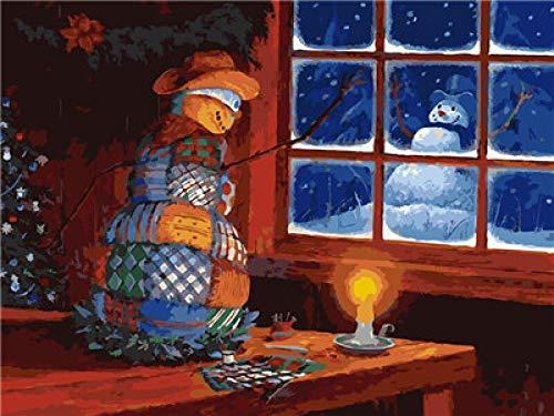 CMYKYUH Pintar por Numeros para Adultos Niños - Muñeco De Nieve A La Luz De Las VelasDIY Pintura al óleo sobre Lienzo Pintar por Numeros para Adultos Principiantes 16 * 20 Pulgadas (Sin Marco)