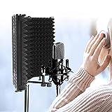 pophmn schermo di isolamento del microfono, isolatori microfonici pieghevoli regolabili con 3 pannelli, professionale microfono schermo di isolamento da studio schiuma assorbente ad alta densità