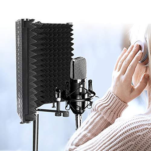PopHMN Escudo de aislamiento de micrófono, Aisladores de micrófono ajustables y plegables con 3 paneles, Espuma absorbente de sonido de micrófono para grabación de sonido de estudio
