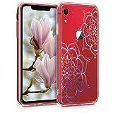 kwmobile Coque Compatible avec Apple iPhone XR - Housse Protectrice pour Téléphone en Silicone Fleurs Jumelles Bleu-Transparent
