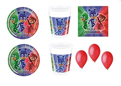 PJ Masks Super pigiamini coordonné décorations fête – Kit N ° 35 CDC- (32, 32 verres, 40 assiettes 40 serviettes, 100 ballons rouges)