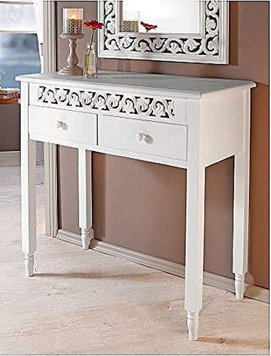 IMC Manufactoria Kommode Ornamente Landhaus 2 Schubfächer Beistelltisch günstig weiß antik Tisch