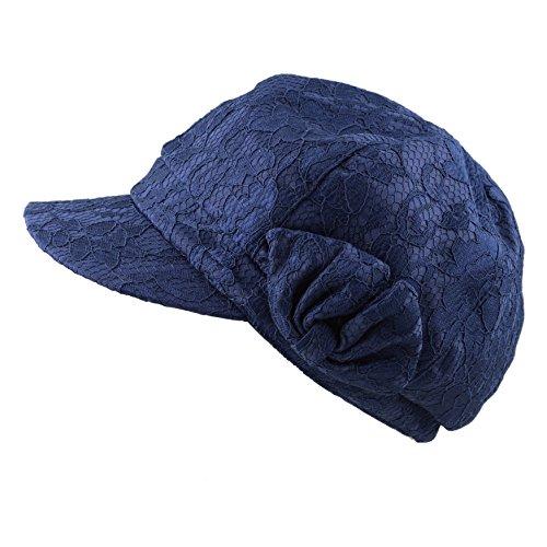 The Hat Depot Womens Cool Flower Mesh Applejack Newsboys Hat Cap (2. Navy)