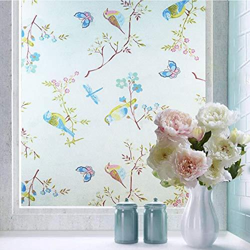 Shackcom Fensterfolie Selbsthaftend Blickdicht Sichtschutz Sichtschutzfolie 90x200CM Statisch Haftend Anti-UV Dekorfolie für Bad Küche Büro Zuhause-G004