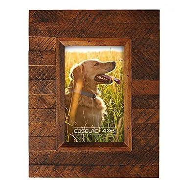 EosGlac Wooden Picture Frame, 4 x 6 Rustic finish Wood Plank Design, 100% Premium Handmade (4x6, Brown)