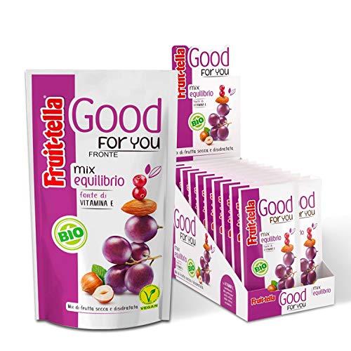 Fruittella Good For You Mix Equilibrio Bio, Snack di Frutta Secca e Disidratata Biologico, Fonte di Vitamina E - 20 Pacchetti Monodose da 35 gr
