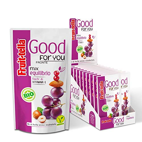 Fruittella Good For You Mix Equilibrio Bio, Snack di Frutta Secca e Disidratata Biologico, Fonte di Vitamina E - 20 Pacchetti...