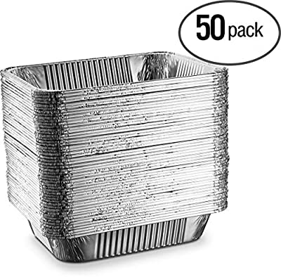 "[50 Pack - 9""x13""] Propack Disposable Aluminum Foil Meal Prep Cookware Half Size Containers, Oven, Toaster, Grill, Cooking, Roasting, Broiling, Baking, Event, Take Out, Restaurant"