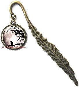 Fashion Black Raven Photo Glass Dome Art Bookmarker Crow Bird Bookmark Halloween Gift-HZ0162