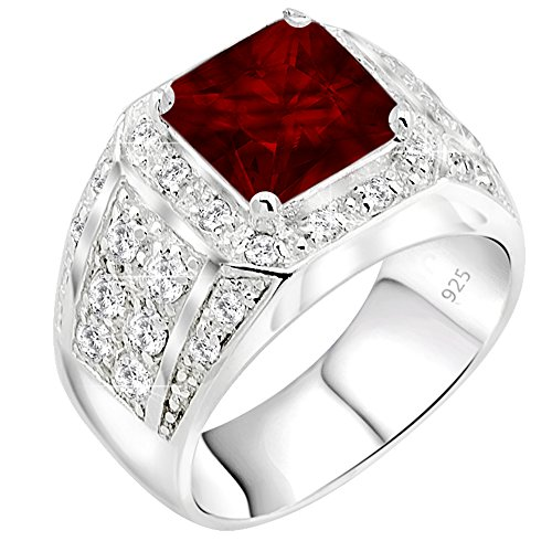 Men's Sterling Silver .925 Princess-Cut Ring Featuring a Synthetic Red Ruby Surrounded by 32 Fancy Round Prong-Set Cubic Zirconia Stones, Perfect for The Holidays