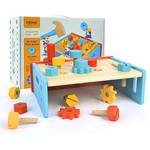 Elianlife Vorschulwerkzeug Werkbank Aus Holz Holzverarbeitung Rollenspiele Kinder-Multitool-Tisch...