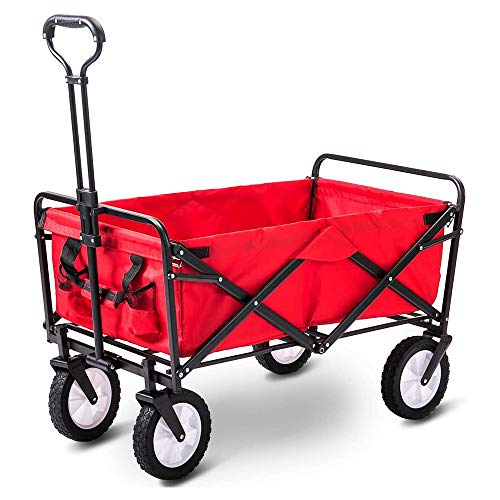 LLHAI Garden Cart, Foldable Camping Wagons, Portable Hand Cart Festival Transport Pull Trolley for Outdoor Activities