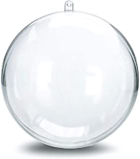 DOYOLLA 80mm Clear Plastic Fillable Christmas Ball Ornaments DIY Bath Bomb Mold for Crafting Your Own Fizzles Pkg of 10 Set