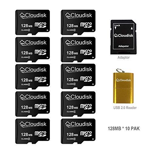 Kleine kapazität 10er Pack 128MB Micro SD Karte Mit 1X MicroSD-Adapter + 1X USB-Kartenleser für die Medienspeicherorganisation von Computer-Kameras