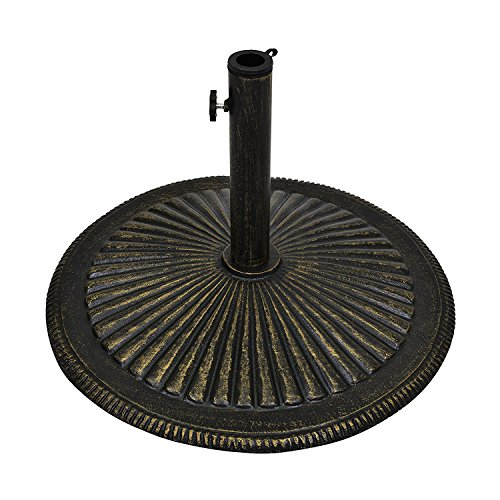 Best Choice Products Round 50-Pound Heavy-Duty Rustic Cast Iron Patio Umbrella Base Stand w/Detachable Stem and Tightening Knob
