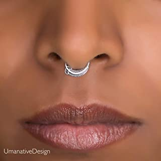 Tiny Fake Septum Ring, Indian Faux Sterling Silver Clip On Non Pierced Septum Hoop, Feather Shaped, 18g, Handmade Piercing Jewelry