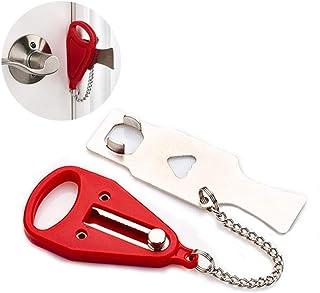 Lezed Cerradura de la Puerta de Seguridad Portátil de Hebilla Cerradura Antirrobo Pestillo Temporal para Puerta Portable L...